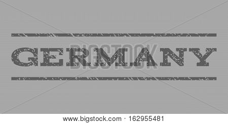 Germany watermark stamp. Text tag between horizontal parallel lines with grunge design style. Rubber seal stamp with scratched texture. Vector dark gray color ink imprint on a silver background.