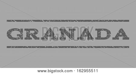 Granada watermark stamp. Text tag between horizontal parallel lines with grunge design style. Rubber seal stamp with dirty texture. Vector dark gray color ink imprint on a silver background.
