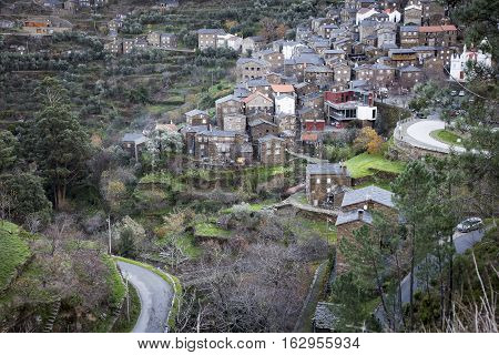 a view of Piodão village in the slope of Açor Mountain (Arganil), District of Coimbra, Portugal