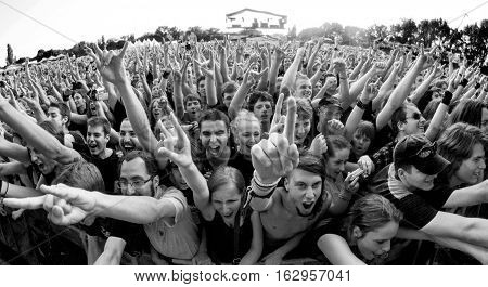 BELGRADE, SERBIA - JUNE 28TH: FANS ENJOYING CONCERT WITH HANDS IN THE AIR ON BELGRADE CALLING FESTIVAL ON JUNE 28TH 2012, IN BELGRADE, SERBIA
