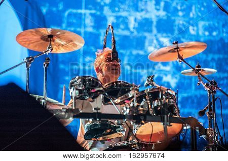 BELGRADE, SERBIA - JUNE 29TH: DRUMMER BRUCE SMITH OF BRITISH BAND PUBLIC IMAGE LIMITED PERFORMING ON BELGRADE CALLING FESTIVAL ON JUNE 29TH 2012, IN BELGRADE, SERBIA