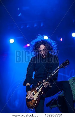 BELGRADE, SERBIA - JUNE 29TH: GUITAR PLAYER DAN HAWKINS OF BRITISH BAND THE DARKNESS PERFORMING AT BELGRADE CALLING FESTIVAL ON JUNE 29TH 2012, IN BELGRADE, SERBIA