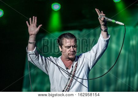 BELGRADE, SERBIA - JUNE 29TH: SINGER MIKE PATTON OF AMERICAN BAND FAITH NO MORE PERFORMING ON BELGRADE CALLING FESTIVAL ON JUNE 29TH 2012, IN BELGRADE, SERBIA