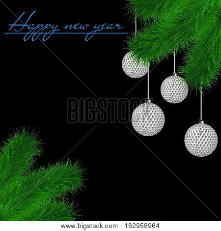 Golf Balls On Christmas Tree Branch