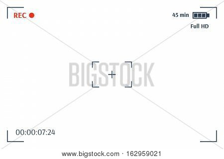 Camera viewfinder. Template focusing screen of the camera. Viewfinder camera recording. Video screen on a black background. vector illustration