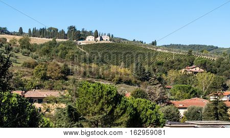 Beautiful countryside landscape in Tuscany Florence, Italy