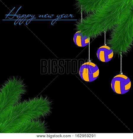 Volleyball Balls On Christmas Tree Branch