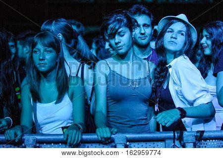 BELGRADE, SERBIA - JUNE 30TH: FANS ENJOYING ON BELGRADE CALLING FESTIVAL ON JUNE 30TH 2012, IN BELGRADE, SERBIA