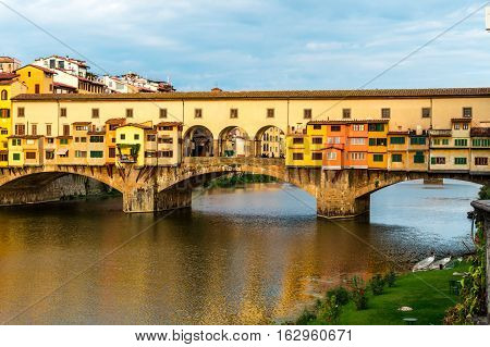 View of the Ponte Vecchio (Old Bridge) in Florence Italy