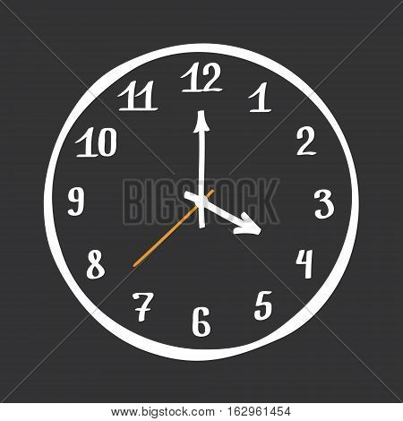 Hand Drawn Clock Symbol Vector Design Element