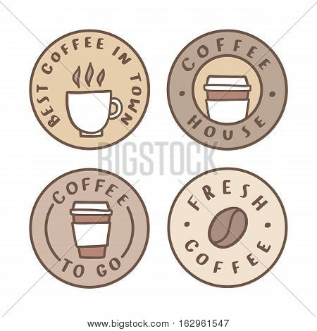 Set of badges. Coffee house, take away. Vector hand drawn illustration