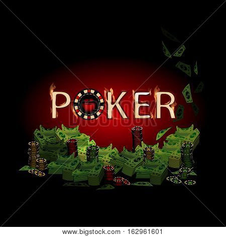 Poker fire text. Money on a dark background. Simple fashion symbol for web site design or a button for mobile applications. Logo Illustrations