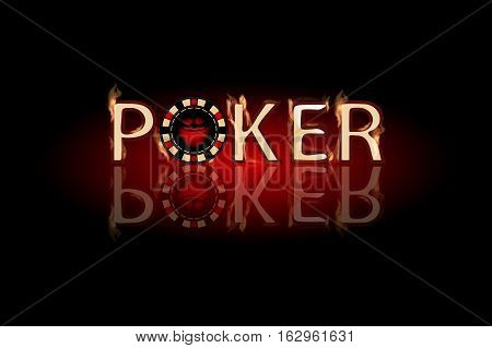 Poker fire text. chip on a dark background. Simple fashion symbol for web site design or a button for mobile applications. Logo Illustrations