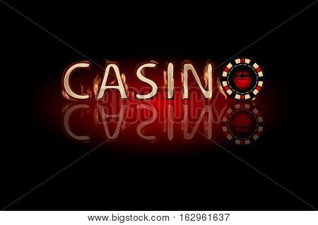 Casino fire text. chip on a dark background. Simple fashion symbol for web site design or a button for mobile applications. Logo Illustrations