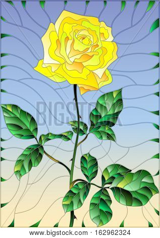 Illustration in stained glass style flower of yellow rose on a sky background
