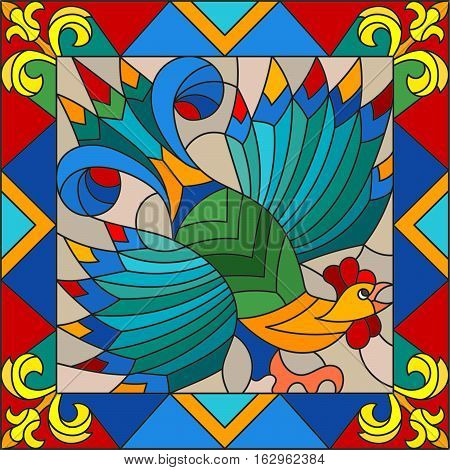 Illustration style stained glass rooster abstract bright frame