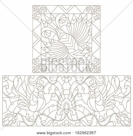 Set contour illustration in the style of stained glass with abstract cocks
