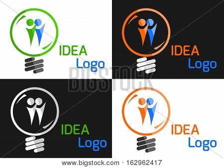 Color light bulb in Green Idea concept vector illustration on white and dark background
