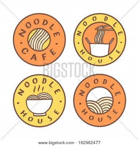 Set of food badges. Noodle cafe, noodles. Vector hand drawn illustration
