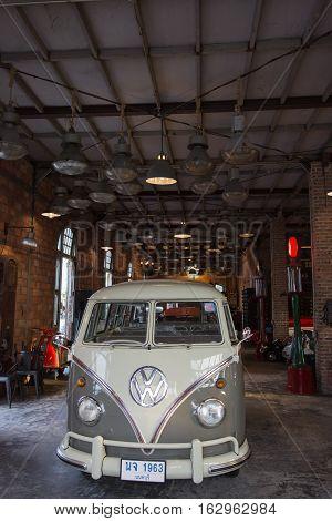 BANGKOK THAILAND - SEPTEMBER 17 2016: Old vintage volkswagen van at Night market Srinakarin or train market. This market is open every Wednesday to sunday.