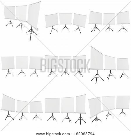 Blank Roll Up Expo Banner Stands Group on Tripod Set. Trade show booth white and blank. 3d render illustration isolated on white background. Template mockup for your expo design.