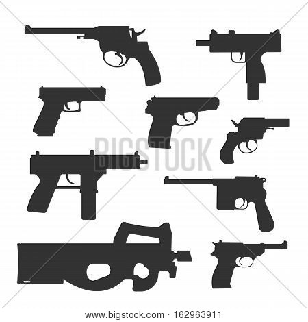Weapons vector handguns collection. Pistols, submachine guns icons. Gun illustration isolated on white background