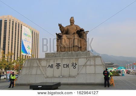 SEOUL SOUTH KOREA - OCTOBER 19, 2016: Unidentified police patrol at King Sejong monument Seoul Korea.King Sejoong was the fourth king of Joseon-dynasty Korea.