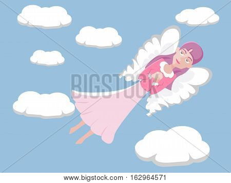 girl with head in clouds - funny vector cartoon illustration