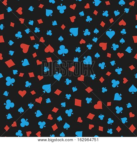 Suits Card Signs Seamless Pattern Background. Hearts, Diamonds, Spades and Clubs.