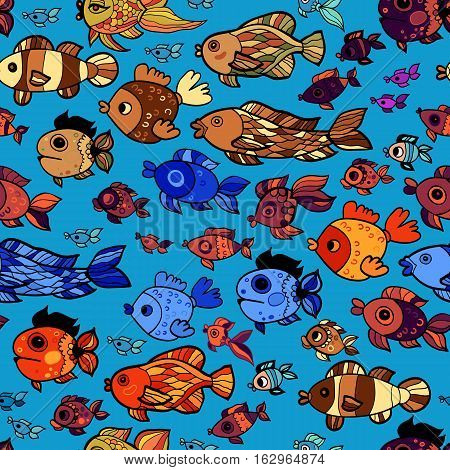 Vector seamless pattern with cute fish. Summer sea background.