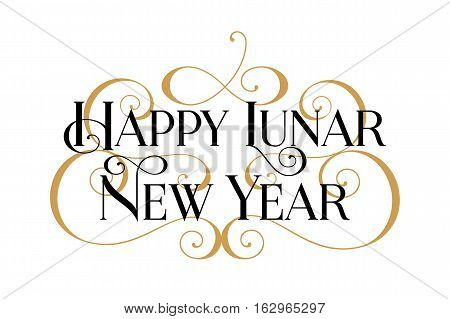 Happy Lunar New Year. Handwritten modern brush black text, gold swirl, white background. Beautiful lettering invitation, greeting, prints, posters. Typographic inscription, calligraphic design vector