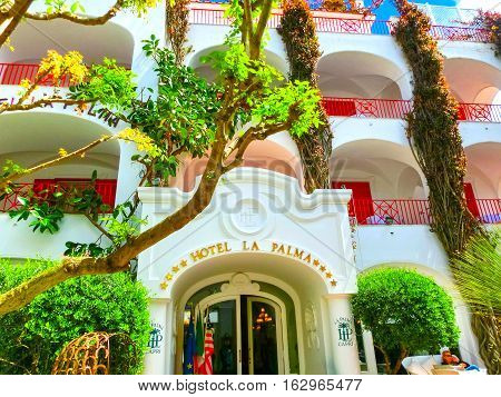 Capri, Italy - May 04, 2014: The main entrance at Hotel La Palma in old center of Capri, Italy on May 04, 2014