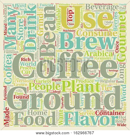 A Brief Overview of Gourmet Coffee text background wordcloud concept