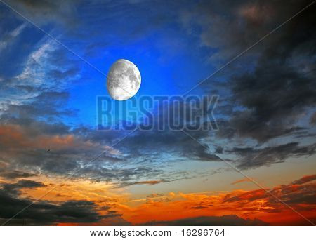 The moon against a sunset