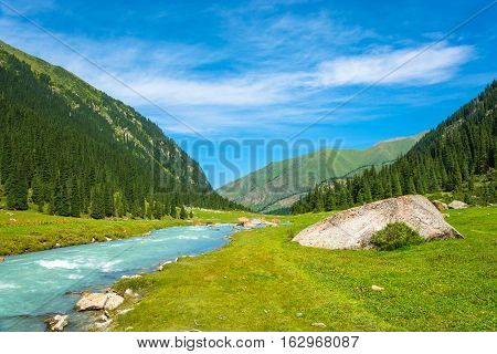 Mountain Landscape With A Turbulent River, Kyrgyzstan.