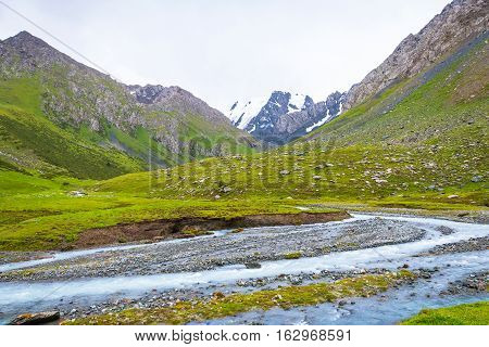 Mountain Landscape With Snow-capped Peaks, Kyrgyzstan.