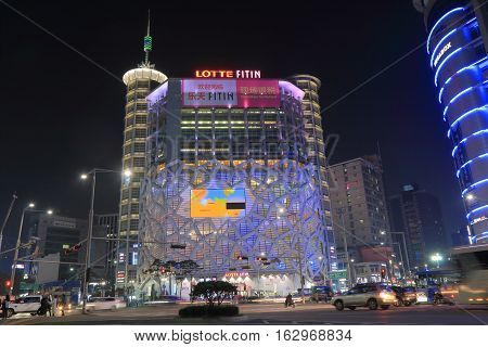 SEOUL SOUTH KOREA - OCTOBER 19, 2016: Lotte Fitin shooping mall in Dongdaemun shopping district Seoul.