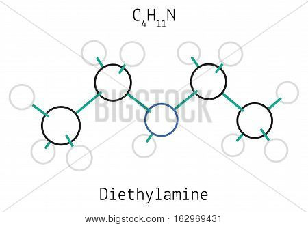 Diethylamine C4H11N molecule isolated on white in vector