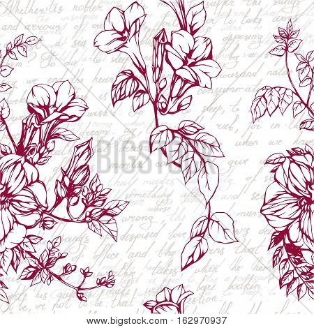 Seamless vector background with drawings of blossom garnet and calligraphy vintage text