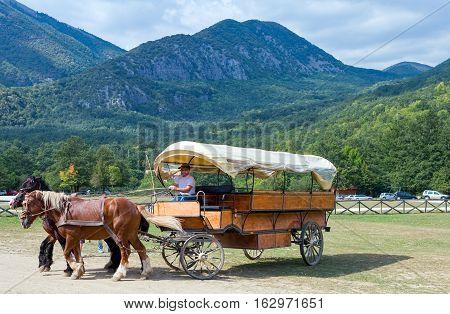 Camosciara Italy - September 7 2006: A tourist carriage in Abruzzi's National Park