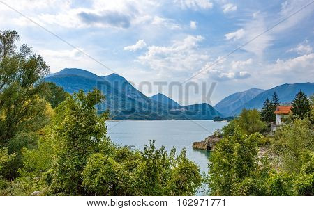 Italy the Barrea lake in Abruzzi's National Park