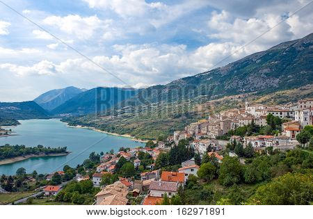 Italy the Barrea lake and village in Abruzzi's National Park