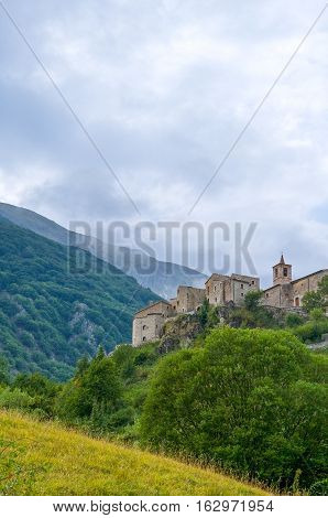 Italy Maiella National Park view of Roccacaramanico village