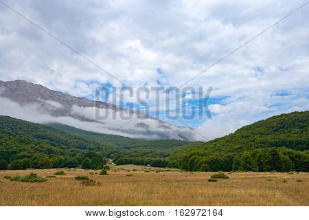 Italy Maiella National Park view of the mountains in a cloudy day