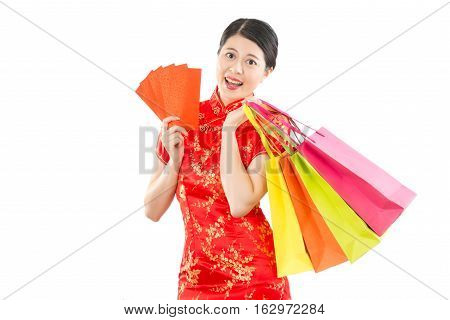 Woman In Cheongsam Holding Shopping Bag