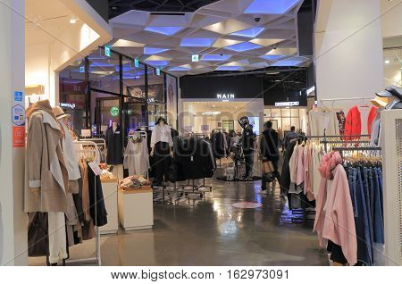 SEOUL SOUTH KOREA - OCTOBER 19, 2016: Unidentified people visit Lotte Fitin shooping mall in Dongdaemun shopping district Seoul.