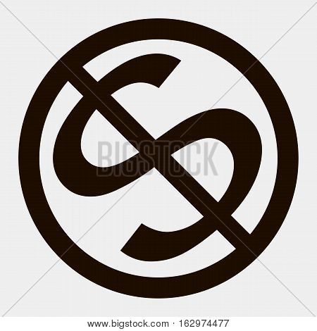 Black no dollar sign on white background
