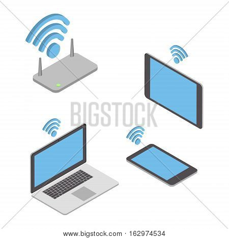 Wireless technologies. The concept of different wireless mobile devices. Vector isometric illustration