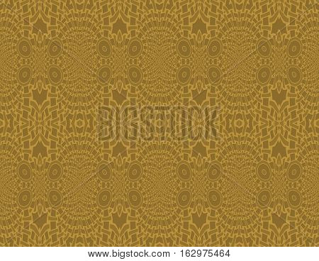Abstract geometric seamless background, single color. Regular intricate ellipses pattern in ocher brown and golden shades.