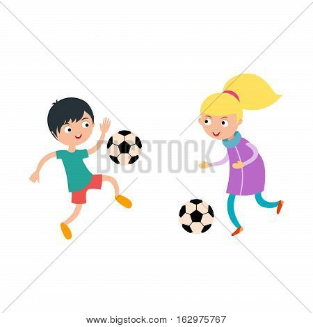 Young child boy and girl playing football vector illustration. Active sport running soccer game. Competition youth activity kid, play activity lifestyle character.